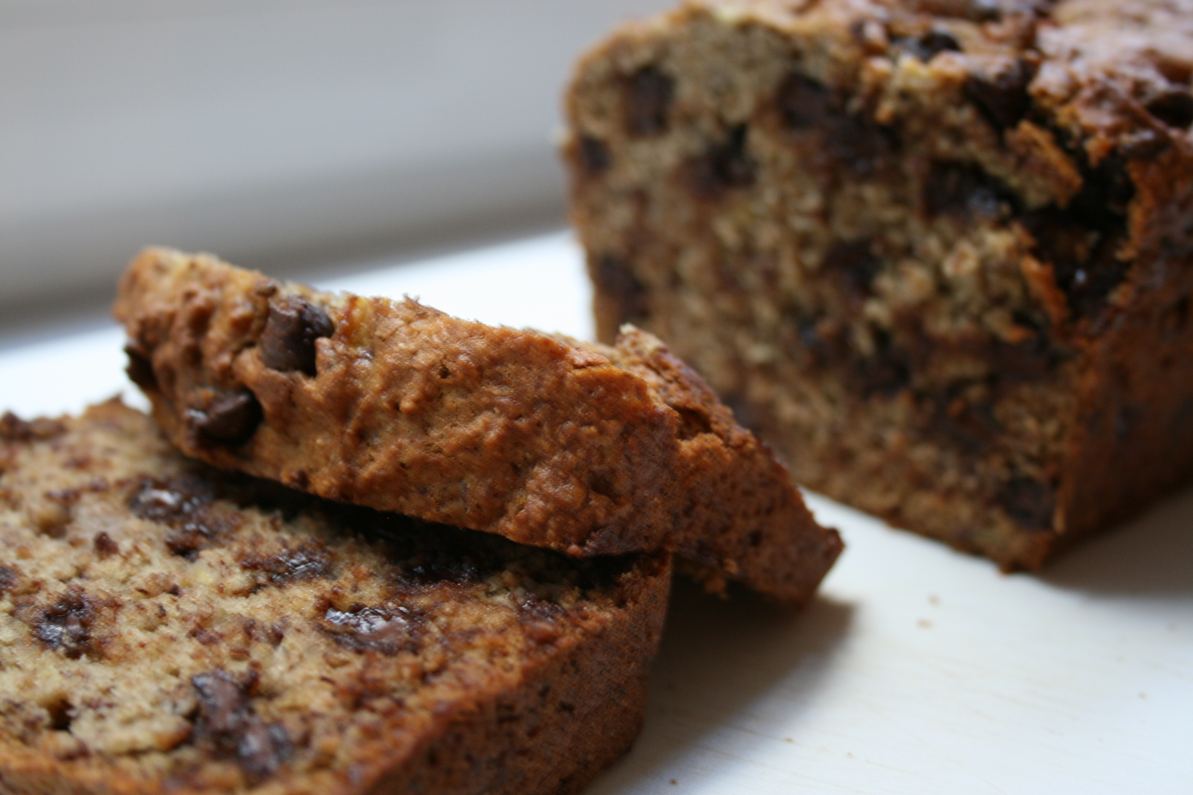 banana bread with ingredients banana chocolate chip loaf of loaf comes ...