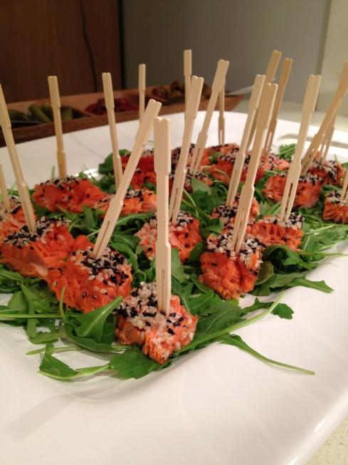 Sesame Crusted Salmon Skewers