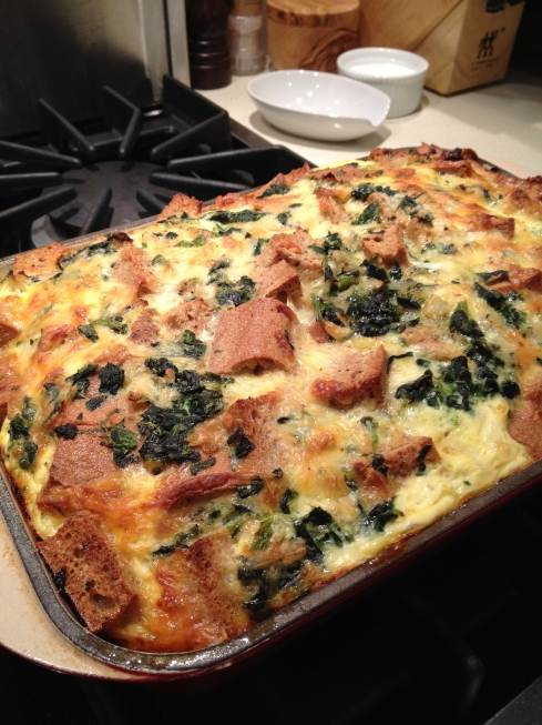Spinach and Cheese Whole Wheat Strata