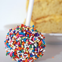 Birthday Cake: vanilla cake dipped in dark chocolate, rolled in colorful sprinkles